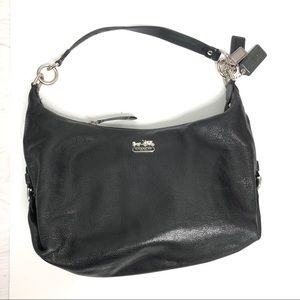 Coach leather purse black with purple liner